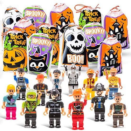 halloween trick or treat goodie bags with mini toy figure toys colorful novelty goody assortment