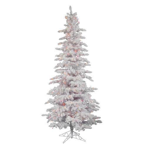 6.5' Pre Lit Flocked White Spruce Slim Artificial Christmas Tree   Multi LED