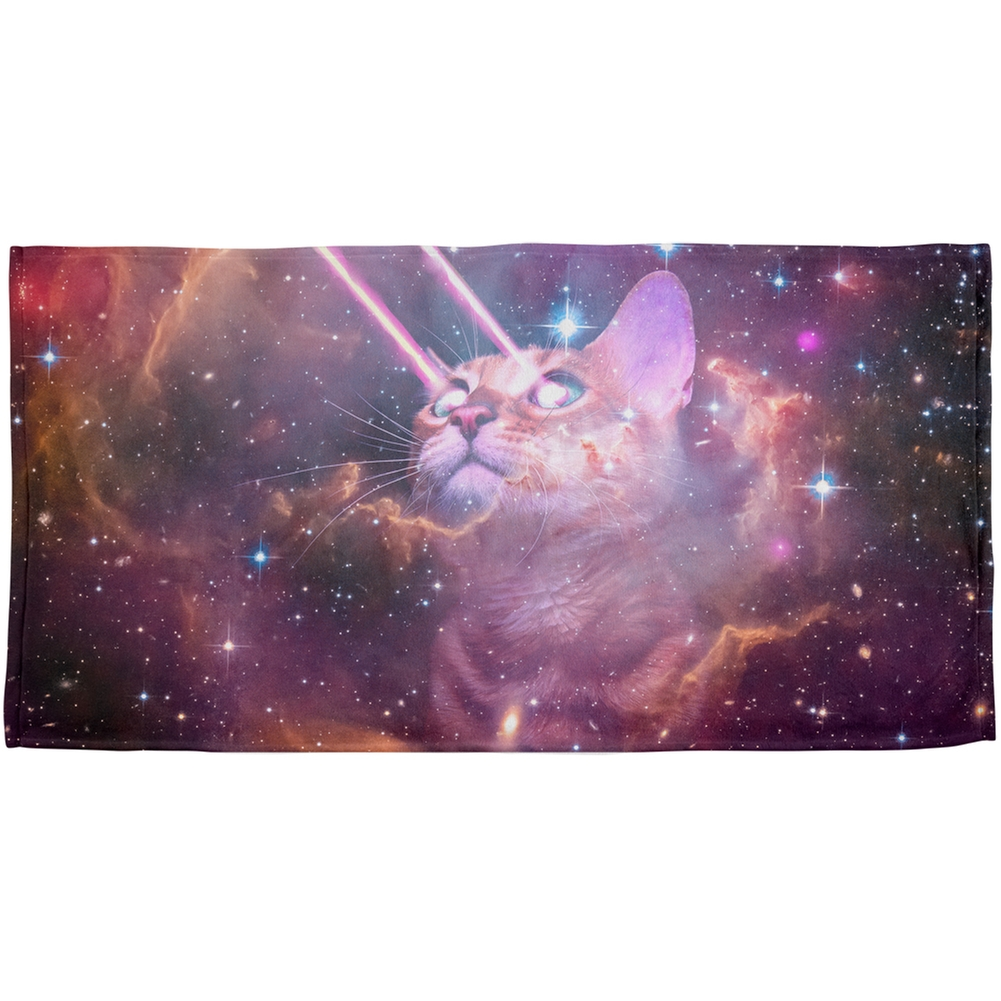 Galaxy Cat Laser Beams All Over Plush Beach Towel
