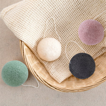 Natural Konjac Konnyaku Wash Face Sponge Puff Exfoliator Tools for Oily/Combination Skin Biodegradable Activated Charcoal Skincare (Best Activated Charcoal Face Wash)