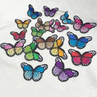 SUPERHOMUSE 10Pcs Multicolor Noble Butterfly iron on Patches for clothing Applique Embroidery for DIY or Sewing Projects 7.6x4.2cm