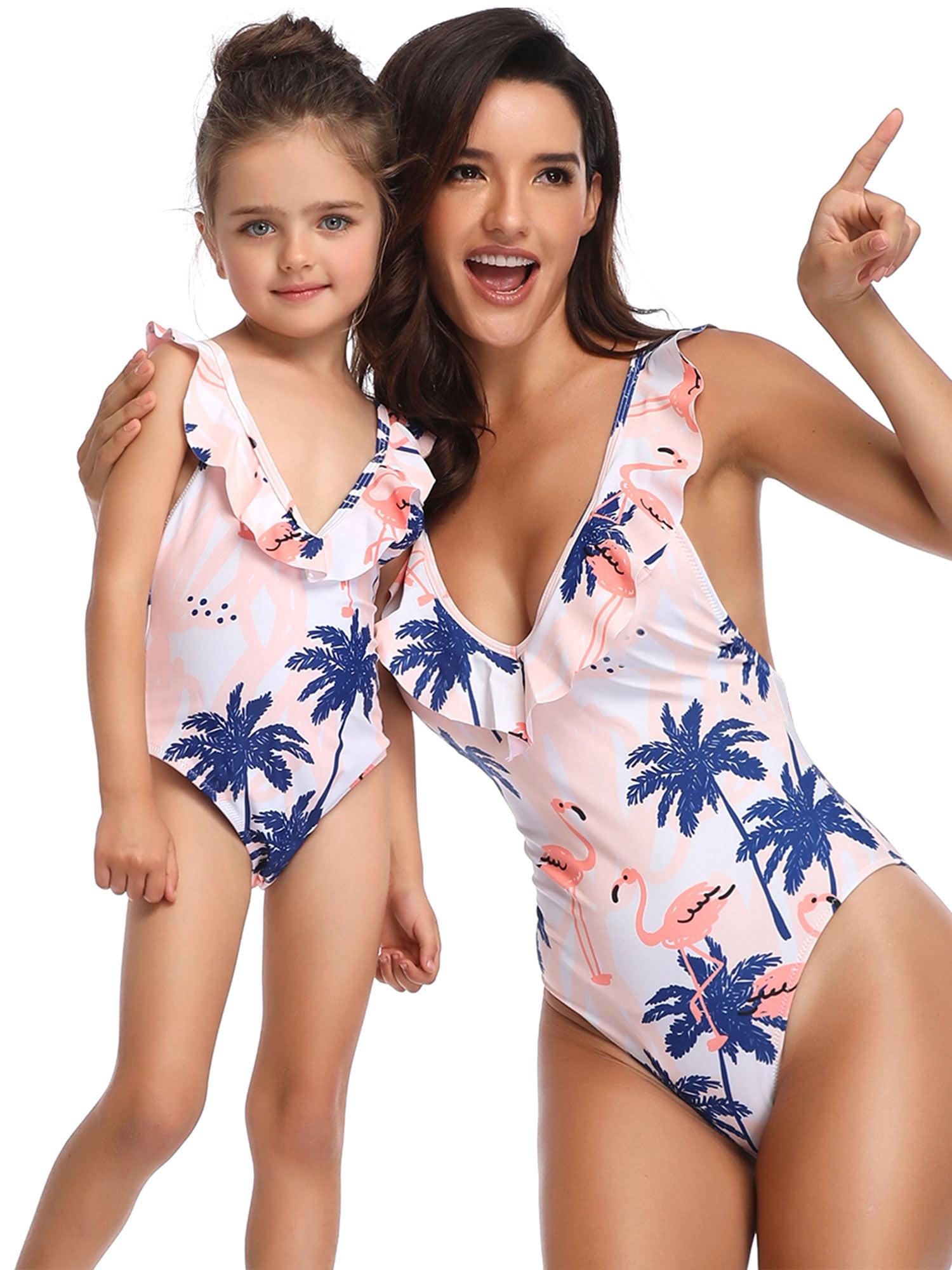 Family Matching Swimwear Mother Daughter Women Kids Floral One piece Bikini