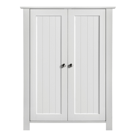 Topeakmart Free Standing Floor Cabinet with 2 Durable Doors and 2 Adjustable Shelves White ()