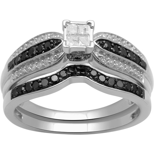 1/2ct. T.W. Princess and Round-Cut Black and White Diamond Sterling Silver Bridal Set
