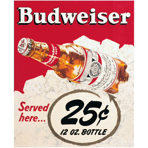 "Trademark Fine Art ""Budweiser Vintage Ad - 25 cents"" Canvas Art, 18x22"