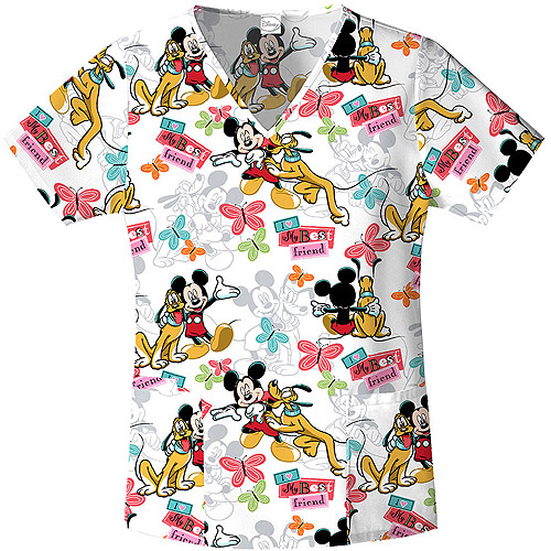 "Disney's Mickey Mouse ""Mickey's Best Friend"" Women's Printed V-Neck Top"