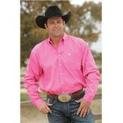 Mens Pink Pinpoint Oxford Long Sleeve Shirt