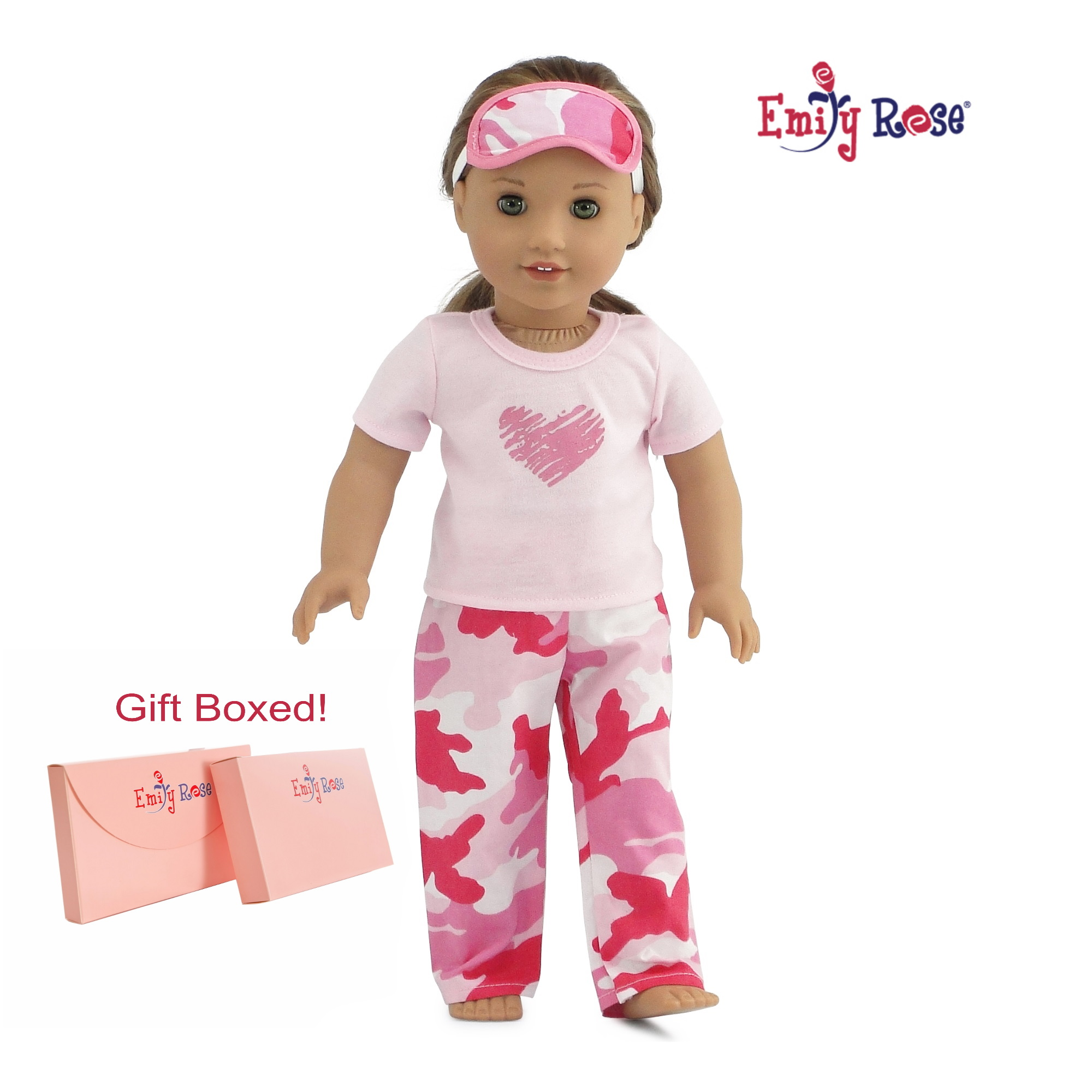 Hearts Print Tshirt Pants Suit for 18inch AG American Doll My Life Journey Doll