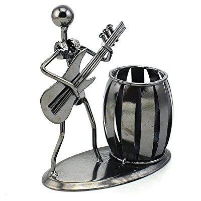 zicome recycled metal art hand-made pen holder with a guitarist figure playing music - decorative desk organizer office space supply multipurpose pen pencil holder - a creative and amazing desktop dec