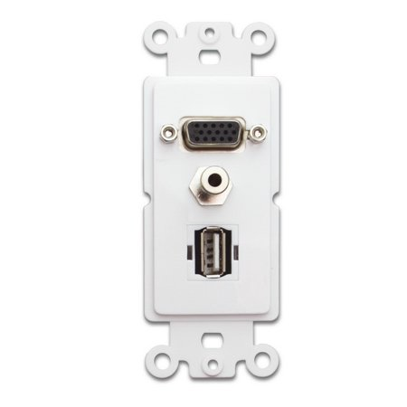 CableWholesale 301-3001 Decora Wall Plate Insert, White, VGA Coupler; 3.5mm Stereo Jack and  USB Type A Coupler, HD15 Female; 3.5mm Female and USB Type A Female