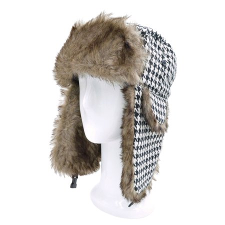 Winter Houndstooth Faux Fur Trapper Ski Snowboard Hunter Hat