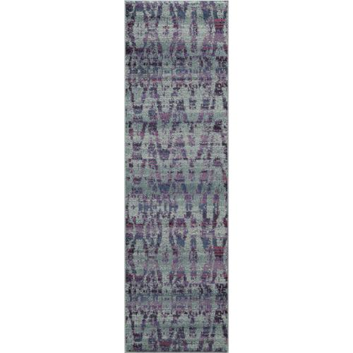 "Momeni Abode Blue Power-Loomed Abstract Texture Rug (2'3"" x 7'6"") by Overstock"