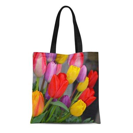 Flowers Tote Bag Handbag Purse (SIDONKU Canvas Tote Bag Floral Colorful Spring Tulip Flowers Blossoms Garden Reusable Handbag Shoulder Grocery Shopping Bags)