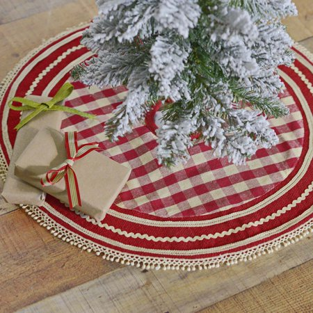 Cherry Red Farmhouse Christmas Decor Gretchen Cotton Lace Cotton Burlap Check 21