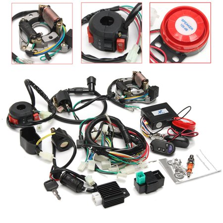 Full Electrics Wiring Harness Coil CDI Engine Two Holes Accessories 50cc 70cc 110cc 125cc ATV+Remote Start Switch