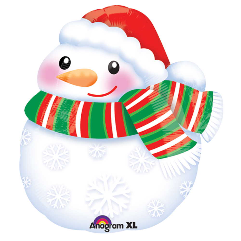 "Anagram Christmas Holiday Bundled Up Snowman 14""x17"" Foil Balloon, White Red"