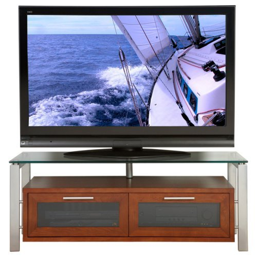 Plateau Decor 50 Inch TV Stand in Walnut with Silver Frame