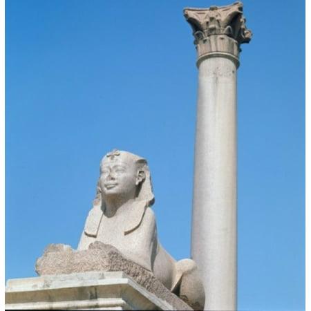 Sphinx & Pompeian Column Egyptian Art Canvas Art -  (24 x 36)