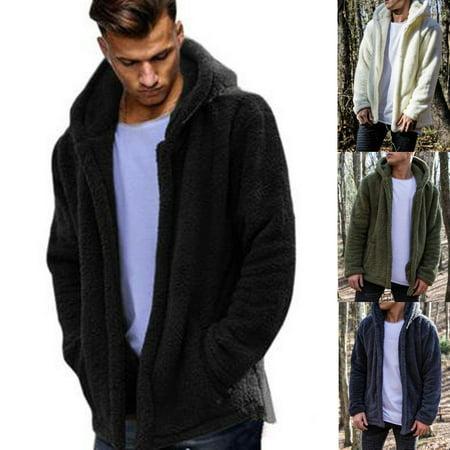 Mens Teddy Bear Oversized Coat Borg Cardigan Faux Fur Jacket Size M-2XL Fur Coat Teddy Bears