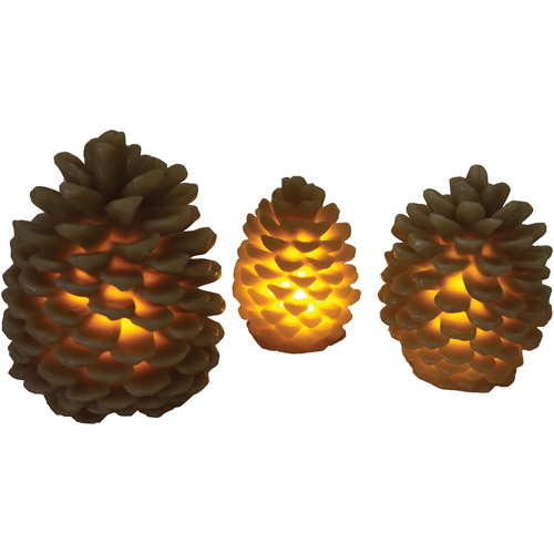 River's Edge Products 3-Piece LED Pine Cone Candle Set