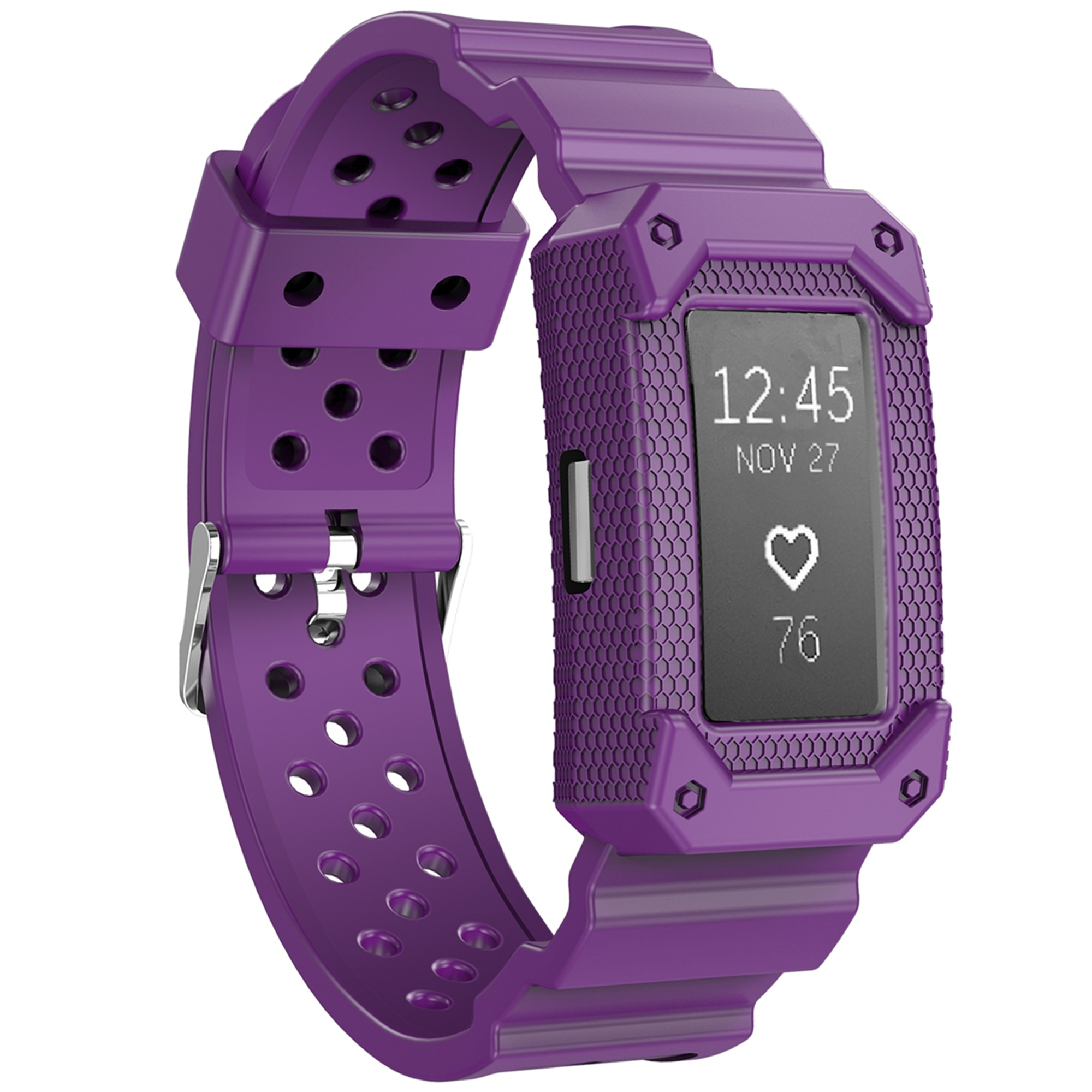 Moretek Silicone Adjustable Replacement Sport Strap Wristband for Fitbit Charge 2 (Purple)