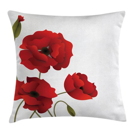 Floral Throw Pillow Cushion Cover Poppy Flowers Bright Petals With Delectable Poppy Floral Decorative Pillows