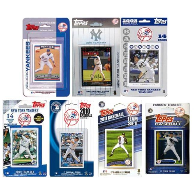 C & I Collectables YANKEES712TS MLB New York Yankees 7 Different Licensed Trading Card Team Sets