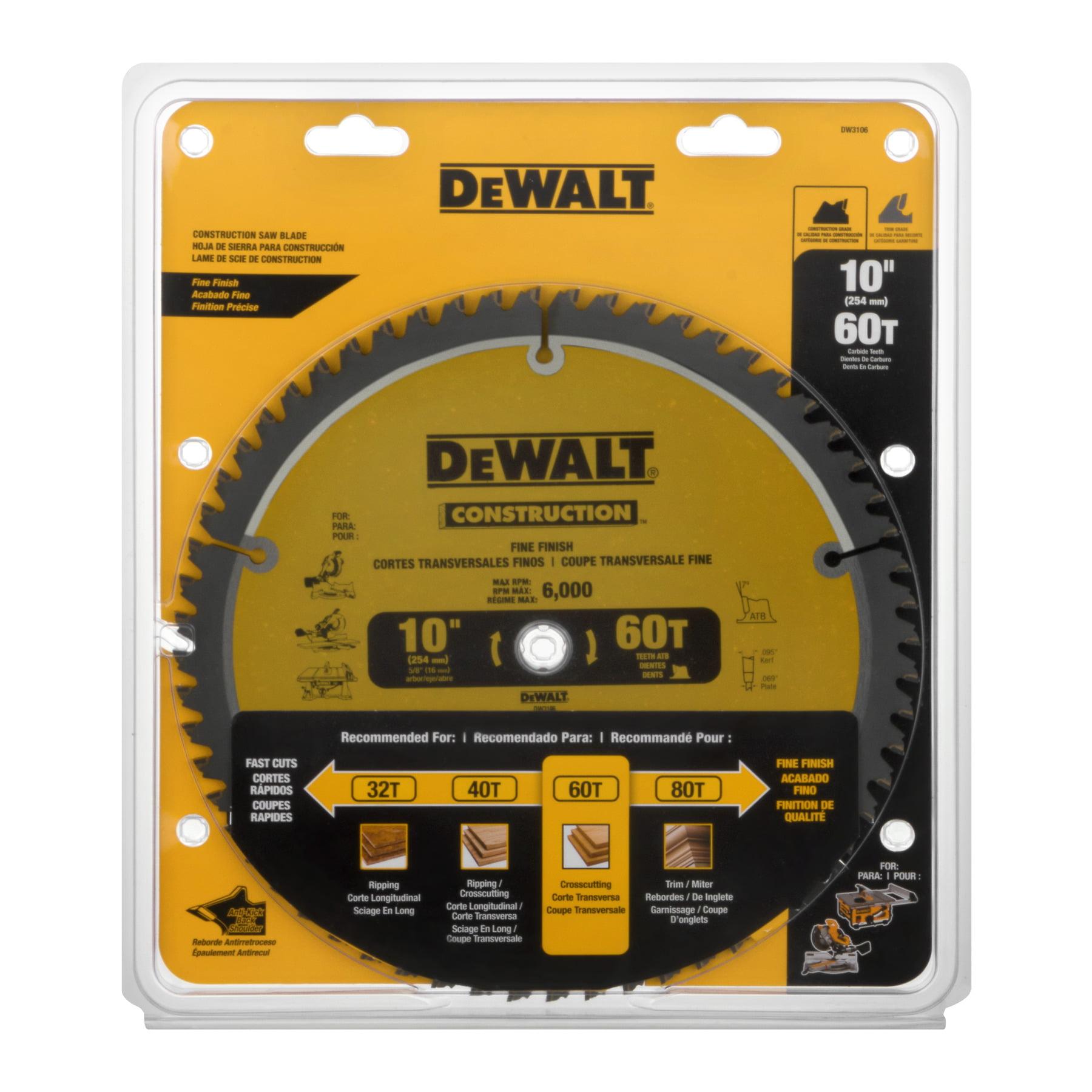 "DeWalt Construction Saw Blade 10"", 1.0 CT"