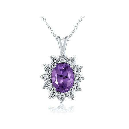 1.60 Ct Oval Purple Amethyst 925 Sterling Silver (Pink Amethyst Pendant)