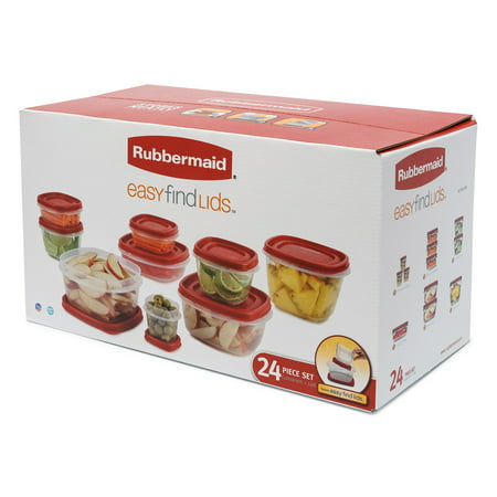Rubbermaid Easy Find Lids Food Storage and Organization Containers, Set of 12 (24 Pieces - Dish Storage Containers