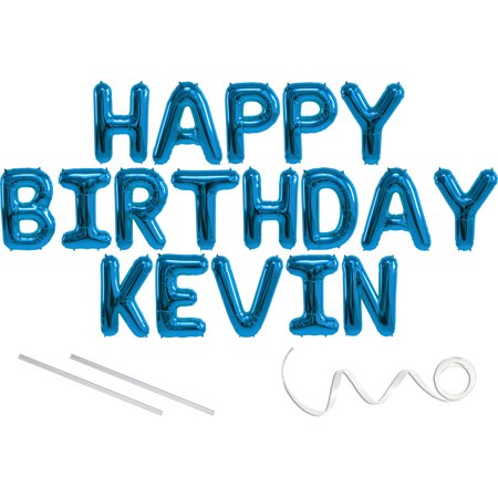 Kevin Durant Party Supplies (Kevin, Happy Birthday Mylar Balloon Banner - Blue - 16 inch Letters. Includes 2 Straws for Inflating, String for Hanging. Air Fill Only- Does Not Float w/Helium. Great Birthday)