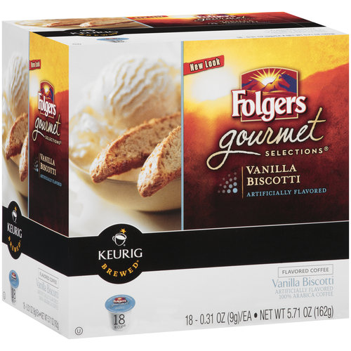 Folgers Gourmet Selections Vanilla Biscotti Coffee K-Cups, 18 count, 5.71 oz