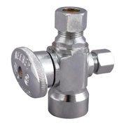 Keeney Manufacturing 2902PCLF Quarter Turn Shut-Off Valve 3-Way Chrome Plated - 0.5 x 0.37 x 0.25 in.