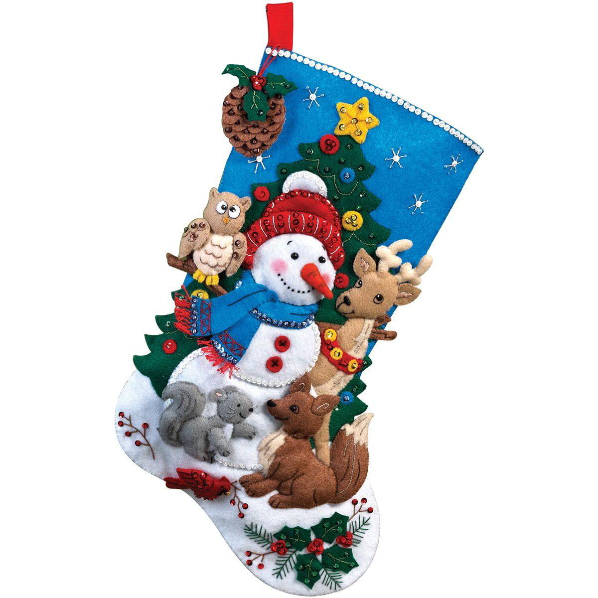 Bucilla Christmas Stocking Kits.18 Inch Christmas Stocking Felt Applique Kit 86505 Woodland Snowman Bucilla Felt Applique Stocking By Bucilla
