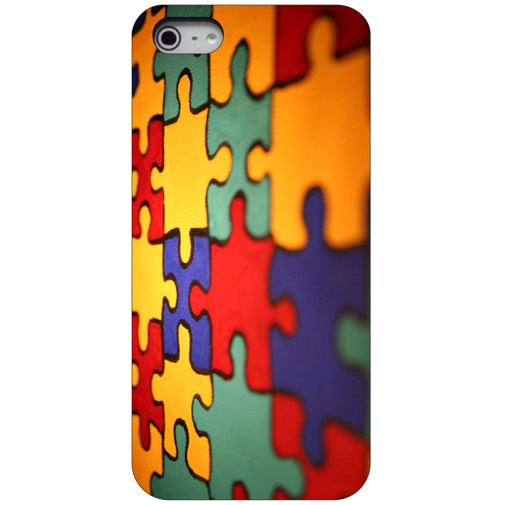 CUSTOM Black Hard Plastic Snap-On Case for Apple iPhone 5 / 5S / SE - Red Blue Yellow Puzzle Pieces