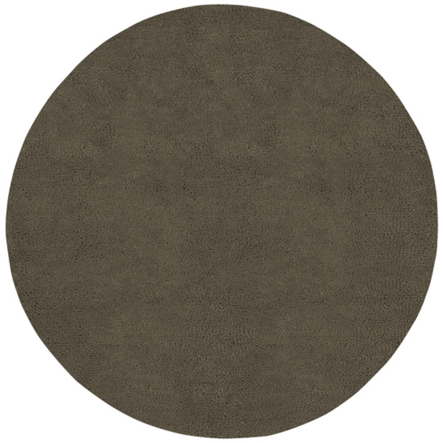 10' Solid Umber Brown Hand Woven Round New Zealand Wool Shag Area Throw Rug