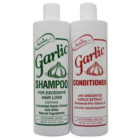 Nutrine Garlic Shampoo & Conditioner Unscented 16 Fl. Oz Duo for Hair Loss