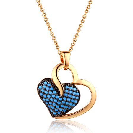18kt Gold Plated Brass & Genuine Turquoise Twin Heart Pendant Necklace