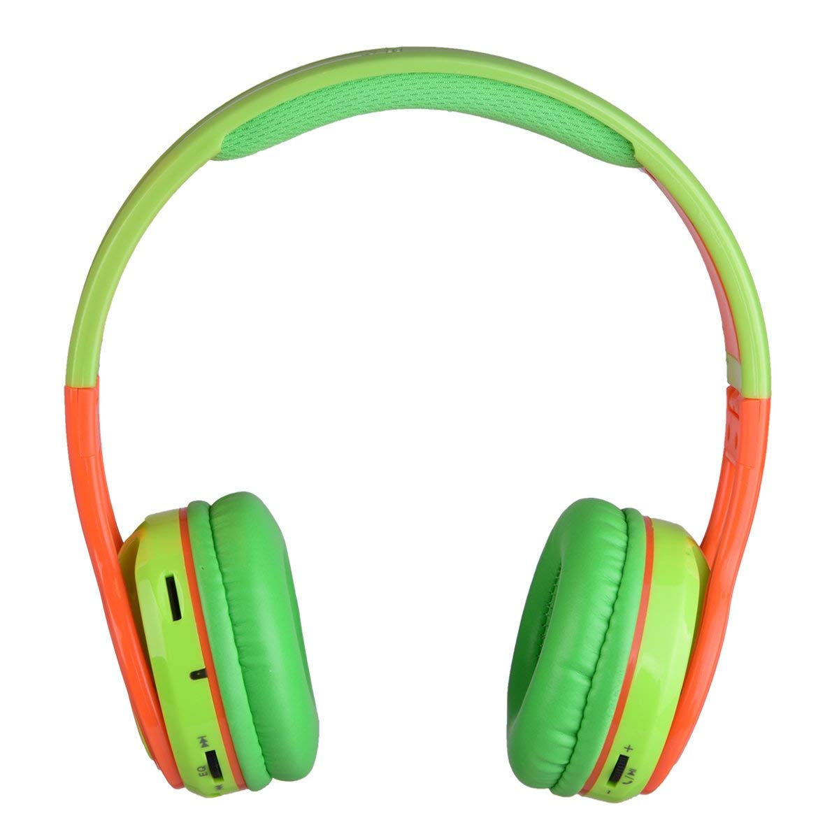 Contixo Kid Safe Over the Ear Foldable Wireless Bluetooth Headphones with Volume Limiter, Built-in Microphone, Micro SD Card Music Player, and FM Stereo Radio, Green/Orange (New Open Box)