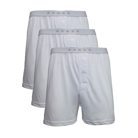 Mens Cotton Blend Tag-less White Boxers (3-Packs)