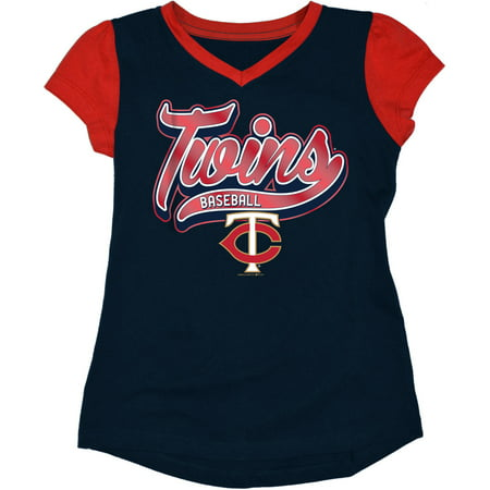 - MLB Minnesota Twins Girls Short Sleeve Team Color Graphic Tee