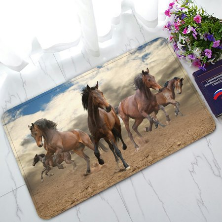 PHFZK Wild Animal Doormat, Running Horses Doormat Outdoors/Indoor Doormat Home Floor Mats Rugs Size 30x18 inches