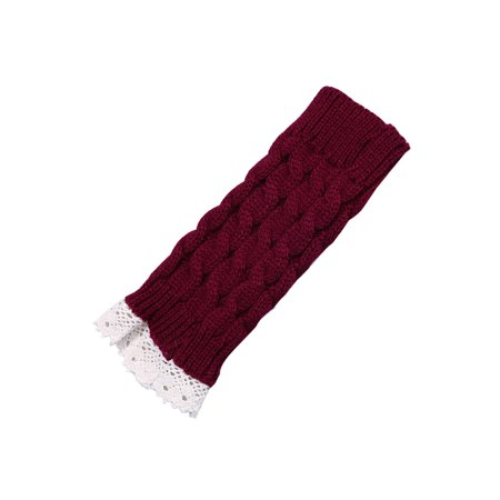 Unisex Winter Lace Warmers Ribbing Thumb Hole Gloves Burgundy 1 Pair - image 4 of 7