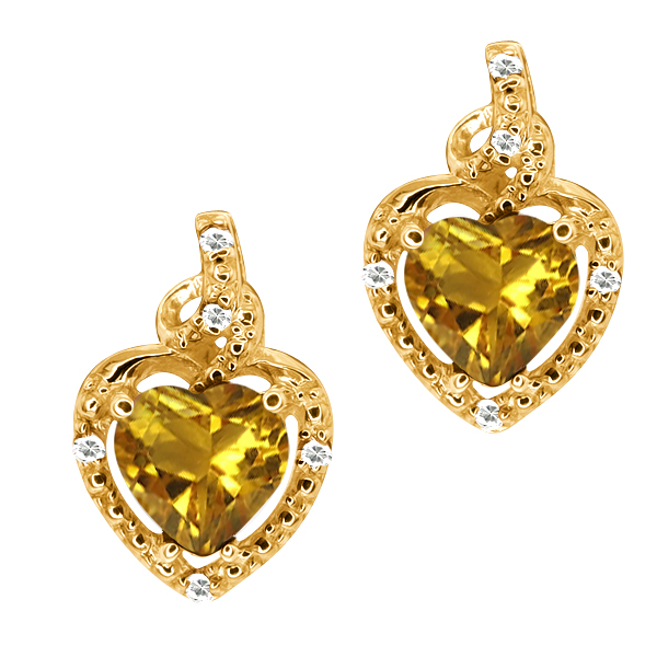 1.50 Ct Heart Shape Yellow Citrine White Topaz 14K Yellow Gold Earrings