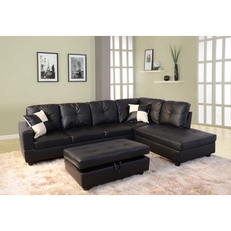 Raphael Faux Leather Right Facing Sectional Sofa With Ottoman, Black ()