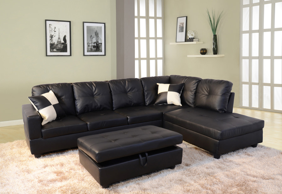 Product Image Raphael Faux Leather Right Facing Sectional Sofa With  Ottoman, Black