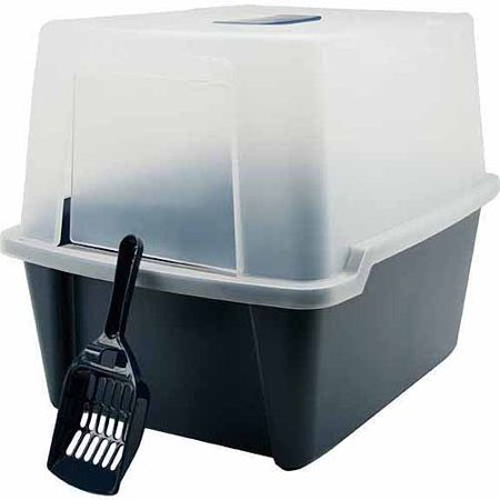 IRIS Hooded Cat Litter Box with Grate and Scoop, (Hooded Litter Boxes)