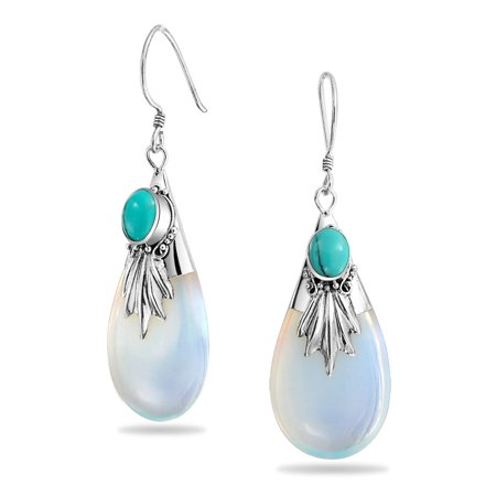 Boho Bali Style Rainbow Opalite Glass Stabilized Turquoise Teardrop Pear Shaped Dangle Earrings Women Sterling Silver