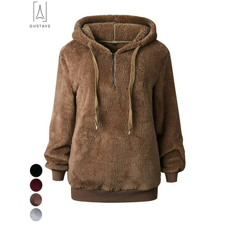 - GustaveDesign Women's Fleece Long Sleeve Pullover Hoodies with 1/4 Zip Up Sweatshirt Jumper Warm Sweaters (Brown,XL)