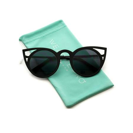 WearMe Pro - Women Full Metal Frame Cat Eye Retro Fashion Retro Round Lens Cat Eye (Adidas Evil Eye Halfrim Pro Sunglasses)